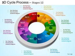 3D Cycle Process Flowchart Stages 12 Style 3 ppt Templates 0412