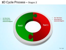 3D Cycle Process Flowchart Stages 2 Style 3 ppt Templates 0412