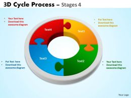3D Cycle Process Flowchart Stages 4 Style 3