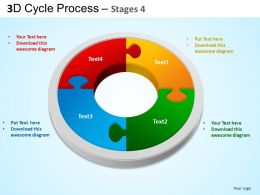3D Cycle Process Flowchart Stages 4 Style 3 ppt Templates 0412