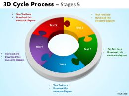 3D Cycle Process Flowchart Stages 5 Style 3