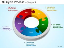 3D Cycle Process Flowchart Stages 5 Style 3 ppt Templates 0412