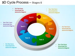 3D Cycle Process Flowchart Stages 6 Style 3 ppt Templates 0412