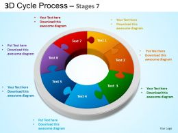 3D Cycle Process Flowchart Stages 7 Style 3 ppt Templates 0412