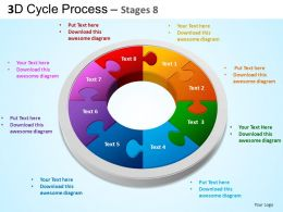 3D Cycle Process Flowchart Stages 8 Style 3 ppt Templates 0412