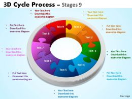 3D Cycle Process Flowchart Stages 9 Style 3