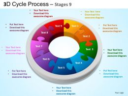 3D Cycle Process Flowchart Stages 9 Style 3 ppt Templates 0412