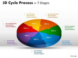 3D Cycle Process templates Flow diagram Chart 7 Stages Style 3