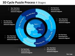 3D Cycle Puzzle Process 4 Stages Powerpoint templates ppt presentation slides 0812
