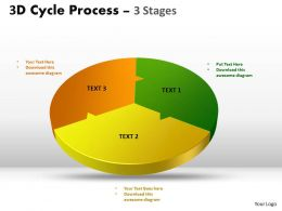 3D Cycle templates Process three Flow Chart 3 Stages Style 4