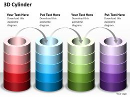 3D Cylinder Shapes Powerpoint Template Slide