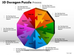 3D Decagon Puzzle Process Powerpoint Slides