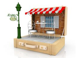 3d Design Of French Cafe On White Background Stock Photo
