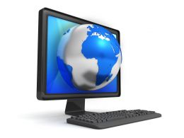 3d Desktop With Globe Stock Photo