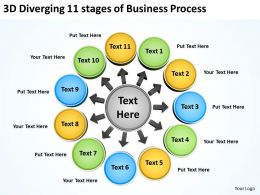 3d diverging 11 stages of busines process Arrows Software PowerPoint Slides
