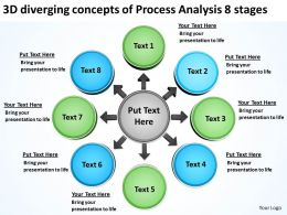 3d diverging concepts of process analysis 8 stages Cycle Flow Network PowerPoint Slides