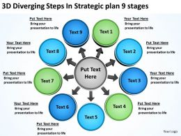 3d diverging steps strategic plan 9 stages Cycle Flow Network PowerPoint Slides