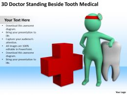 3D Doctor Standing Beside Tooth Medical Ppt Graphics Icons Powerpoint
