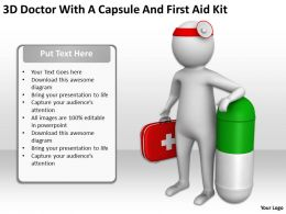 3D Doctor With A Capsule And First Aid Kit Ppt Graphics Icons Powerpoint