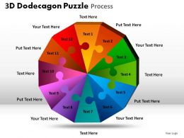 3D Dodecagon Puzzle Process Powerpoint Slides