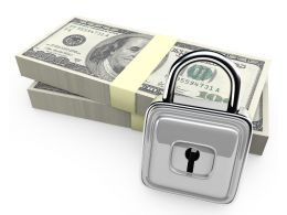 3d Dollars With Steel Lock Stock Photo