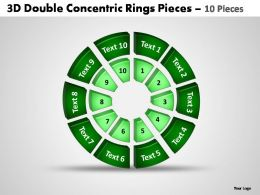 3d double concentric rings pieces 10 pieces powerpoint templates