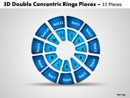 3d double concentric rings pieces 11 pieces powerpoint templates