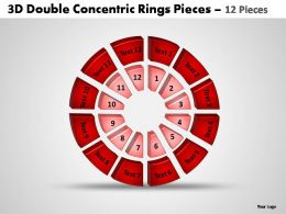3d double concentric rings pieces 12 pieces powerpoint templates