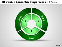 3d double concentric rings pieces 3 pieces powerpoint templates
