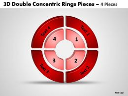 3d double concentric rings pieces 4 pieces powerpoint templates