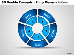 3d double concentric rings pieces 5 pieces powerpoint templates
