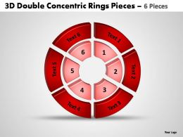 3d double concentric rings pieces 6 pieces Powerpoint templates