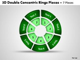 3d double concentric rings pieces 7 pieces powerpoint templates