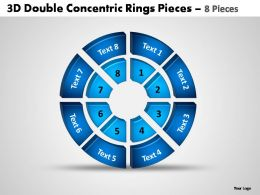 3d double concentric rings pieces 8 pieces powerpoint templates
