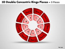 3d double concentric rings pieces 9 pieces powerpoint templates