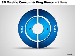 3d double concentric rrngs pieces 2 pieces powerpoint templates