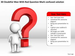 3D Doubtful Man With Red Question Mark confused solution Ppt Graphic Icon