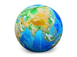 3D Earth Globe Graphic With White Background Stock Photo