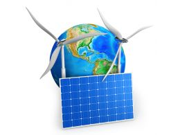 3D Earth With Windmills And Solar Plate Stock Photo