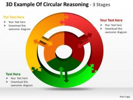 3d example of circular reasoning 3 stages powerpoint templates graphics slides 0712