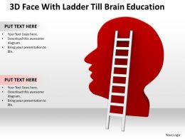 3D Face With Ladder Till Brain Education Ppt Graphics Icons Powerpoint