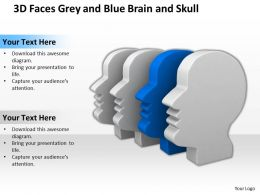 3D Faces Grey And Blue Brain And Skull Ppt Graphics Icons Powerpoint