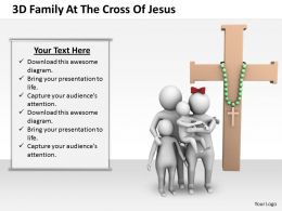 3d Family At The Cross Of Jesus Ppt Graphics Icons Powerpoint