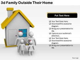3d Family Outside Their Home Ppt Graphics Icons Powerpoint