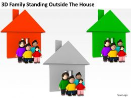 3D Family Standing Outside The House Ppt Graphics Icons Powerpoint