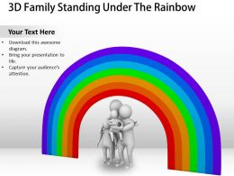 3D Family Standing Under The Rainbow Ppt Graphics Icons Powerpoint