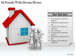 3d Family With Dream Home Ppt Graphics Icons Powerpoint
