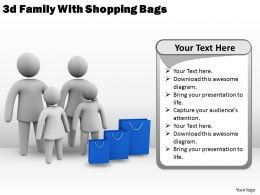 3d Family With Shopping Bags Ppt Graphics Icons Powerpoint
