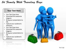3d Family With Traveling Bags Ppt Graphics Icons Powerpoint