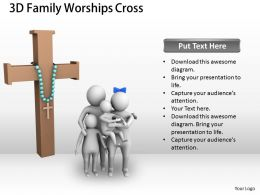 3d Family Worships Cross Ppt Graphics Icons Powerpoint